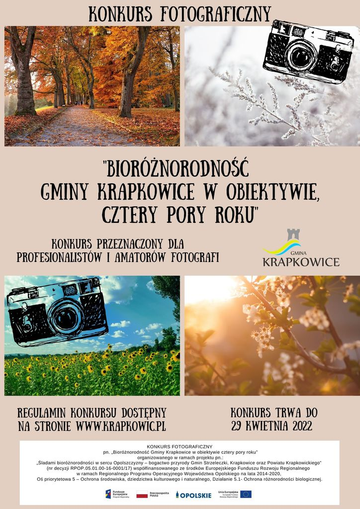 Plakat z informacjami o Konkursie Fotograficznym ,,Bioróżnorodność Gminy Krapkowice w obiektywie, cztery pory roku''