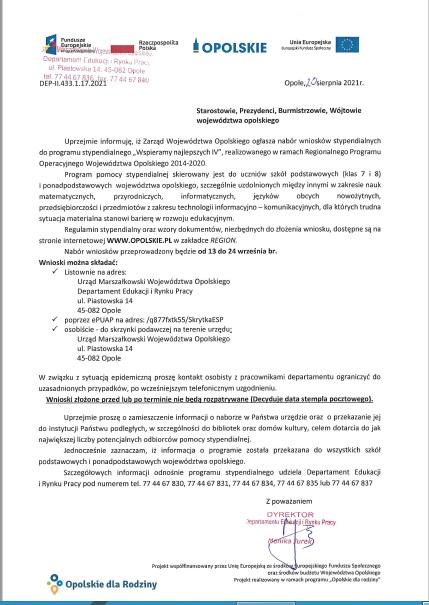 """Nabór wniosków stypendialnych """"Wspieramy najlepszych IV""""."""
