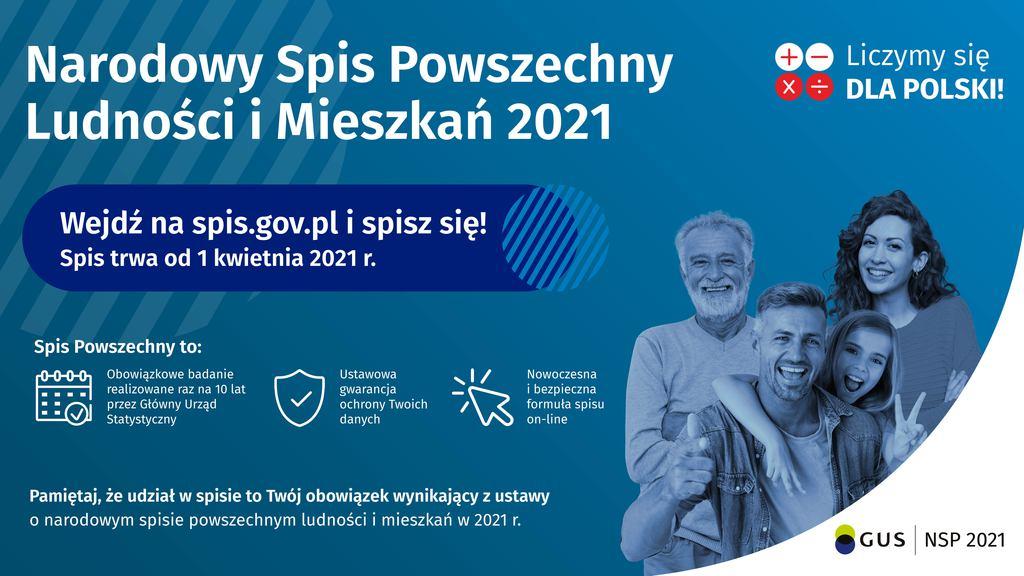 Plakat Narodowego Spisu Powszechnego.