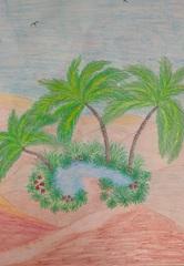 Praca wykonana pastelami- Oaza na pustyni.