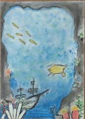 Morskie dno z wrakiem statku i pływającymi rybami.