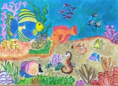 Rysunek- Morskie dno z kolorowymi rybami.