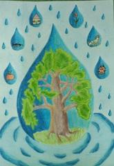 W kroplach wody narysowano istoty i rzeczy dla których woda jest niezbędna.