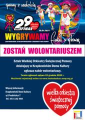 Plakat zachęcający do zostania wolontariuszem Wielkiej Orkiestry Świątecznej Pomocy.