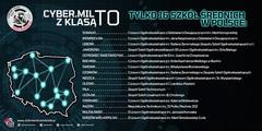 Plakat z listą szkół biorących udział w programie CYBER.MIL Z KLASĄ.