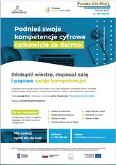 """Plakat reklamujący program """"Rozwój kompetencji cyfrowych osób powyżej 25 roku życia w Gminie Krapkowice""""."""